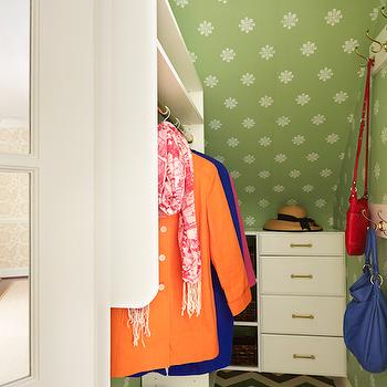 Suellen Gregory - closets - chevron floor, painted floor, chevron painted floor, closet wallpaper, sloped ceiling, closet sloped ceiling, sloped ceiling closet, floating cabinets, floating closet cabinets,