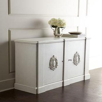 Storage Furniture - Janvier Mini Console I Horchow - off white console, transitional mini console, console with medallion pulls,