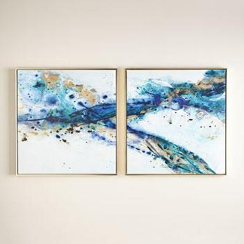 Art/Wall Decor - Two Azure Canyon Prints I Horchow - blue and gold abstract art, cobalt blue and gold abstract, two piece abstract art,