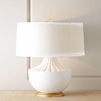 Lighting - John-Richard Collection Carousel Table Lamp I Horchow - white urn table lamp, white cut crystal table lamp, white table lamp with brass base,