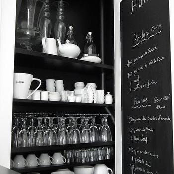 kitchens - pantry door, chalkboard door, chalkboard pantry door, pantry shelves, kitchen pantry,  Black and white kitchen features pantry with