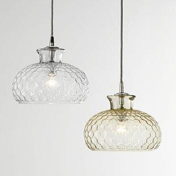 Lighting - Jamie Young Clark Pendant Light I Horchow - honeycomb glass pendant light, hex glass pendant light, taupe glass pendant light,