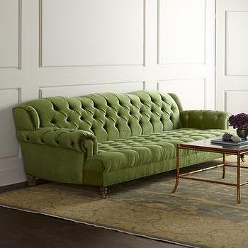 Seating - Haute House Mr. Smith Sofa I Horchow - green tufted sofa, green velvet tufted sofa, green rolled arm sofa, green velvet rolled arm sofa,