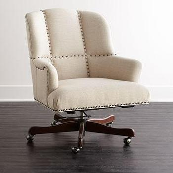 Seating - Frances Office Chair I Horchow - linen swivel chair, linen swivel desk chair, linen nailhead trimmed desk chair,