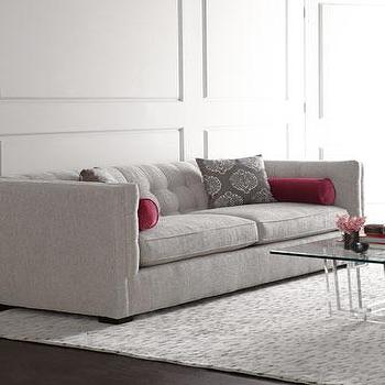 Seating - Sloan Sofa I Horchow - contemporary linen sofa, linen sofa with tufted back, gray linen tufted sofa,