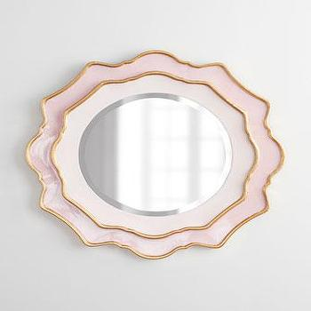 Mirrors - Rosemeade Mirror I Horchow - pink and gold mirror, pink scalloped mirror, pink and gold scalloped mirror,