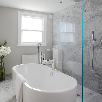 Laura Hammett - bathrooms - marble bathroom, open shower, open shower ideas, rain shower head, gray marble, gray marble shower tiles, gray marble shower surround, freestanding tub, freestanding bathtub, gray marble shower floor, floor mounted tub filler, gooseneck tub filler, seamless glass shower partition, glass shower partition, walk in shower ideas,