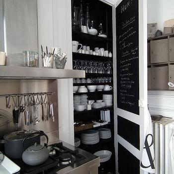 kitchens - pantry door, chalkboard door, chalkboard pantry door, pantry shelves, kitchen pantry, stainless steel kitchen hood, stainless steel cooktop backsplash, stove backsplash, stainless steel stove,