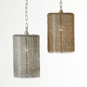 Lighting - Regina-Andrew Design Lancelot Chain-Mesh Pendant Light I Horchow - silver mesh pendant, gold mesh pendant, silver chain mesh pendant, gold chain mesh pendant,