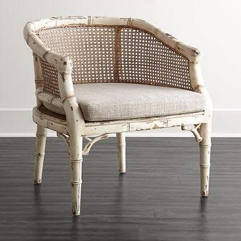 Seating - Suzie Rattan Chair I Horchow - cane back chair, cane and rattan chair, faux bamboo cane chair, distressed cane back chair,