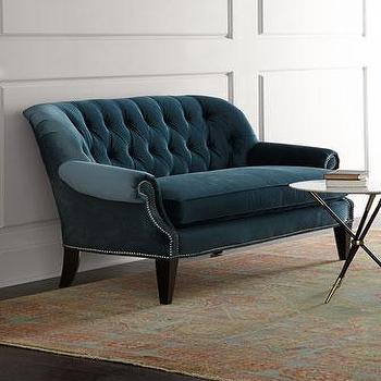 Seating - Monica Tufted Settee I Horchow - teal velvet settee, teal velvet tufted settee, teal velvet tufted loveseat, teal nailhead trim settee,