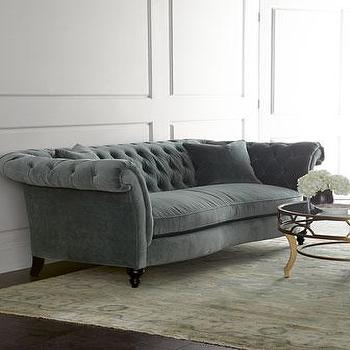 Seating - Jadelyn Tufted Sofa I Horchow - gray green velvet sofa, green velvet sofa, green velvet tufted sofa, green velvet rolled arm sofa, green button tufted sofa,