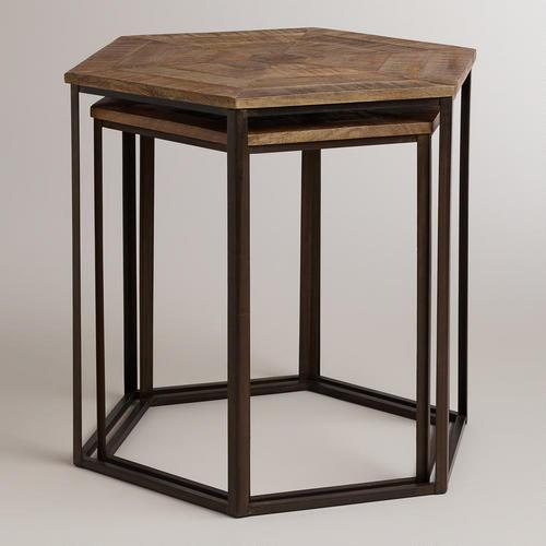 Tables parquet top nesting tables wood and iron nesting tables