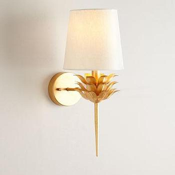 Lighting - Laurel Gold-Leaf Sconce I Horchow - gold leafed floral sconce, gold floral sconce, gold laurel leaf sconce,