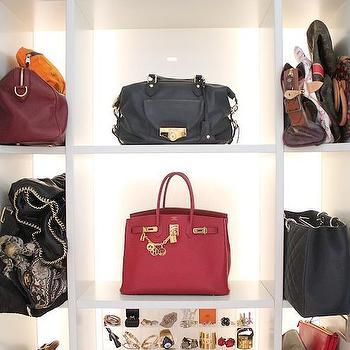 Mango Bluete - closets - back lit purse display, back lit purse shelves, back lit purse collection, closet purse display, closet purse shelving, purse shelves, built in purse shelving, built in purse cubbies, lucite jewelry display, lucite jewelry storage, purse cubbies, purse storage, purse display cabinet,