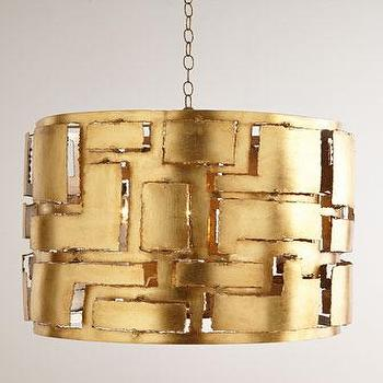 Lighting - Braxton Iron Pendant Light I Horchow - gold leaf iron pendant light, modern gold leaf pendant light, industrial gold leaf pendant light,