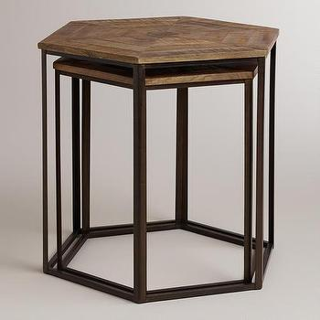 Tables - Iliana Nesting Tables, Set of 2 | World Market - hexagonal nesting tables, parquet top nesting tables, wood and iron nesting tables, hexagonal industrial nesting tables,