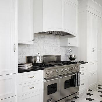 Black and White Marble Floor, Transitional, kitchen, Eva Quateman Interiors