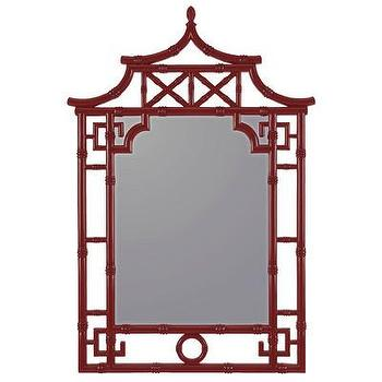 Mirrors - Cooper Classics Maya Wall Mirror | Wayfair - red pagoda mirror, red chinoiserie mirror, red faux bamboo mirror,