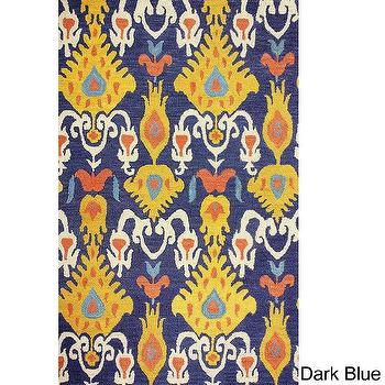 Rugs - nuLOOM Handmade Ikat Wool Rug (7'6 x 9'6) | Overstock.com - navy and yellow ikat rug, navy blue and yellow ikat rug, multi colored ikat rug,