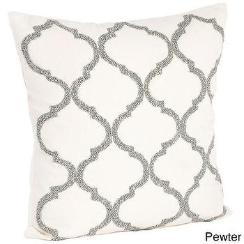 Pillows - Moroccan Design Beaded Down Filled Throw Pillow | Overstock.com - gray moroccan pillow, gray moroccan beaded pillow, gray arabesque tile pillow,