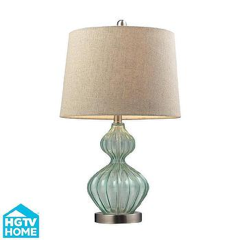 Lighting - HGTV HOME Smoked Glass Pale Green Table Lamp | Overstock.com - green glass gourd lamp, green smoked glass lamp, green gourd shaped lamp,
