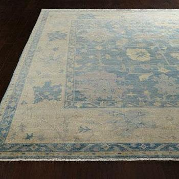 Rugs - Blue Sage Rug I Horchow - faded blue oushak rug, blue oushak rug, blue and cream oushak rug,