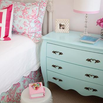 Tiffany Jones Interior Design - girl's rooms - pink and blue bedroom, pink and blue girls room, white garden stool, blue nightstand, aqua blue nightstand, aqua blue three drawer nightstand, blue bombe chest, aqua blue bombe chest, fresh cut flowers, crystal table lamp, small crystal table lamp, white lampshade with pink grosgrain trim, scalloped white coverlet, hot pink geometric pillow, hot pink and white geometric pillow, pink and blue toile, pink and blue toile pillow, toile bed skirt, pink and blue toile bed skirt, french style headboard, french cane back headboard, french cane headboard, turquoise dresser, turquoise chest, turquoise blue dresser, chest as nightstand, dresser as nightstand,