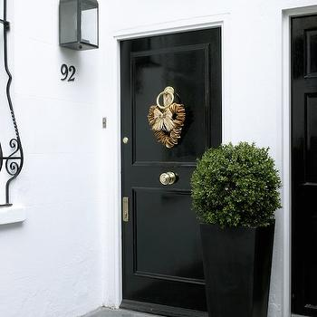 Glossy Black Door, Traditional, porch, Amory Brown