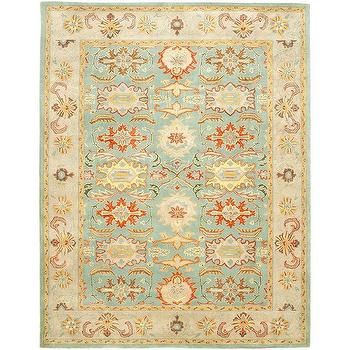 Rugs - Light Blue/ Ivory Wool Rug (6' x 9') | Overstock.com - rust and blue traditional rug, rust and blue oriental rug, blue and ivory oriental rug,