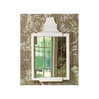 Mirrors - Global Views Pagoda Mirror | Wayfair - white pagoda mirror, white chinese chippendale mirror, white chinoiserie mirror,