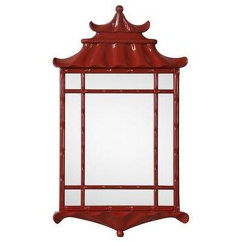 Mirrors - Bunny Williams for Mirror Image Home Pagoda Mirror | Wayfair - red pagoda mirror, red chinoiserie mirror, red lacquer pagoda mirror,