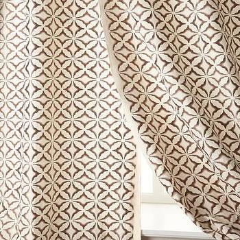 Window Treatments - Frost Embroidered Curtains I Horchow - brown and cream patterned drapes, brown and cream geometric drapes, brown and cream curtains,