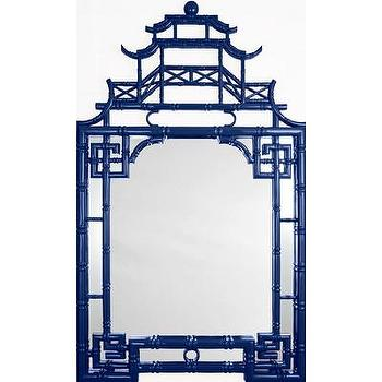 Mirrors - Barclay Butera for Mirror Image Home Pagoda Wall Mirror | Wayfair - navy pagoda mirror, navy lacquer pagoda mirror, navy chinoiserie mirror,