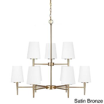 Lighting - Driscoll 9-light Multi-tiered Chandelier | Overstock.com - satin bronze chandelier, modern stain bronze chandelier, satin bronze tiered chandelier,