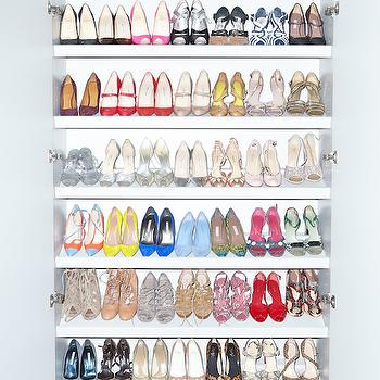 The Coveteur - closets - stacked floating shelves, floating shoe shelves, floating shoe shelving, shoe closet, shoe storage, shoe collection, shoe display, shoe organization, slanted shoe shelves, slanted shelves for shoes,