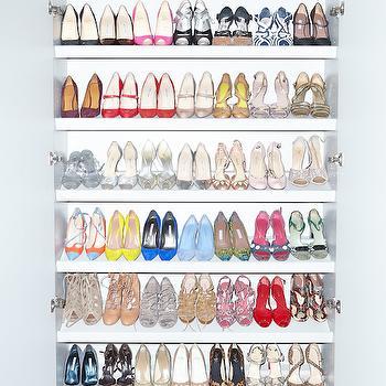 Slanted Shoe Shelves, Contemporary, closet, The Coveteur