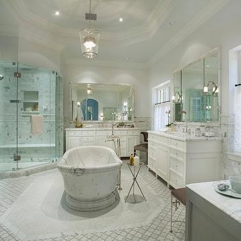 Nance Construction - bathrooms - tray ceiling, bathroom tray ceiling, tray ceiling bathroom, glass column lantern, bathroom lanterns, marble tub, marble bathtub, freestanding marble tub, marble freestanding tub, tray table, nickel tray table, polished nickel tray table, marble arabesque tiles, marble arabesque floor, corner shower, master bath shower, marble shower surround, shower niche, marble shower niche, floating shower bench, marble shower bench, his and her vanities, marble mirror, marble framed mirror, white bath vanities, cafe curtains, bathroom cafe curtains, cafe curtains bathroom,