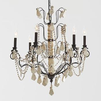 Lighting - Carina Wood Beaded Iron Chandelier | Pottery Barn - wood beaded chandelier, wood and iron chandelier, white washed wood chandelier, wooden beaded chandelier,