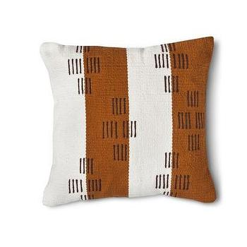 Pillows - Nate Berkus Hand Woven Stitch Pillow - White/Tan I Target - toffee and white striped pillow, brown and white striped pillow, modern brown and white pillow, brown and white stitch pillow,
