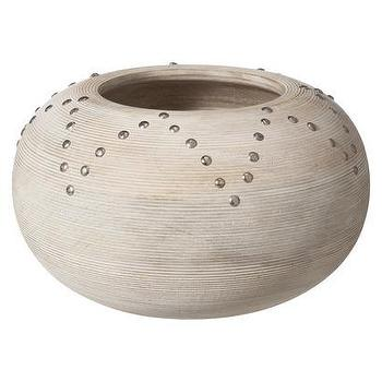 Decor/Accessories - Nate Berkus Wood Gord Bowl White I Target - modern round wood bowl, white washed round bowl, wooden bowl with studded trim,
