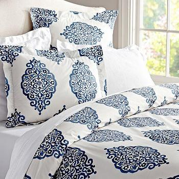 Bedding - Asher Medallion Organic Duvet Cover & Sham | Pottery Barn - blue medallion duvet, blue and white medallion bedding, blue medallion motif bed linens, navy blue medallion duvet,