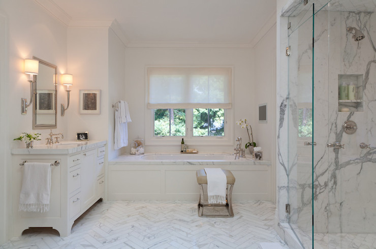 Chevron Marble Floor Transitional Bathroom Marie