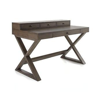 Tables - Greydon Desk in Desks | Crate and Barrel - gray oak desk, modern oak desk, x base desk, modern x based desk, gray wash oak desk,