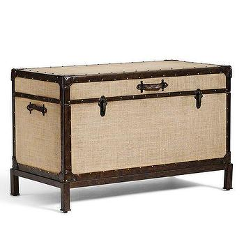 Storage Furniture - Redford End of Bed Trunk | Pottery Barn - burlap steamer trunk, steamer trunk with iron base, end of the bed trunk,
