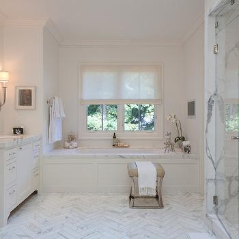 Chevron Marble Floor, Transitional, bathroom, Marie Christine Design