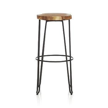 "Seating - Origin 30"" Bar Stool I Crate and Barrel - hairpin leg bar stool, iron and wood barstool, iron hairpin leg barstool,"