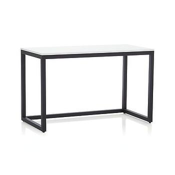 Tables - Finn White Top Desk with Black Base in New Furniture | Crate and Barrel - steel desk with white top, modern steel desk, steel desk,