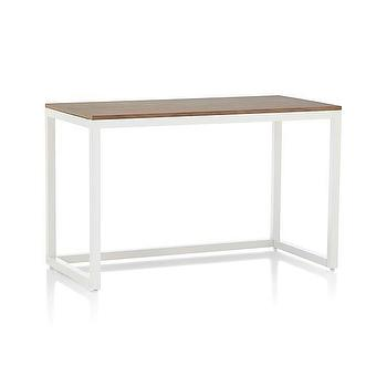 Tables - Finn Walnut Top Desk with Salt Base in New Furniture | Crate and Barrel - white steel desk, white desk with wood top, modern white steel desk,