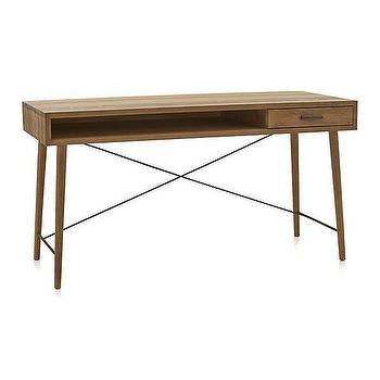 "Tables - Marco 58"" Desk I Crate and Barrel - mid century style desk, modern natural oak desk, wire brushed oak desk, mid century oak desk,"
